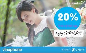 Vinaphone khuyến mãi 20% giá trị thẻ nạp ngày vàng 18/1/2019